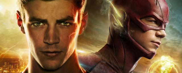 la cara de Barry y la cara con mascara roja con rayos amarillos de Flash