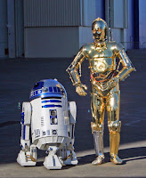 R2-D2 and C3-PO at unveiling of Star Wars R2-D2 jet, Boeing, Everett Washington