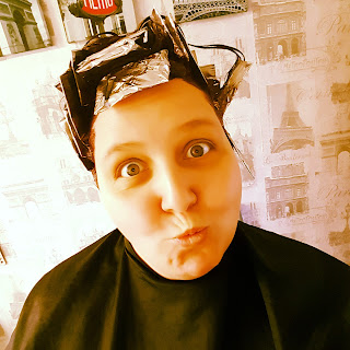 PippaD acting a little crazy whilst having her hair dyed