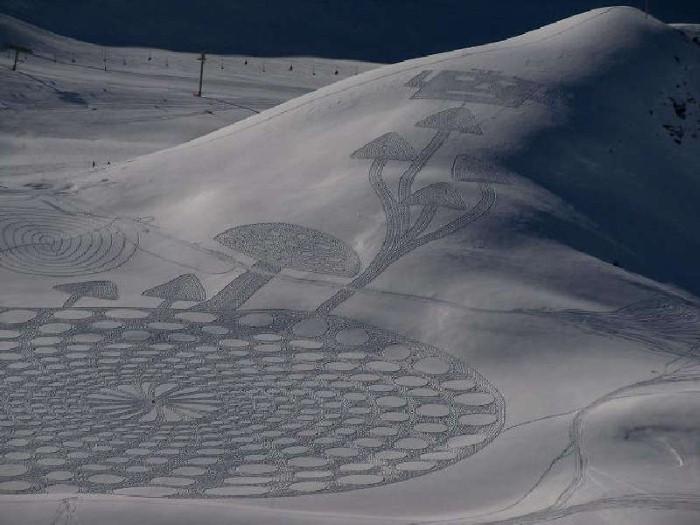 Рисунки на снегу. Simon Beck 4
