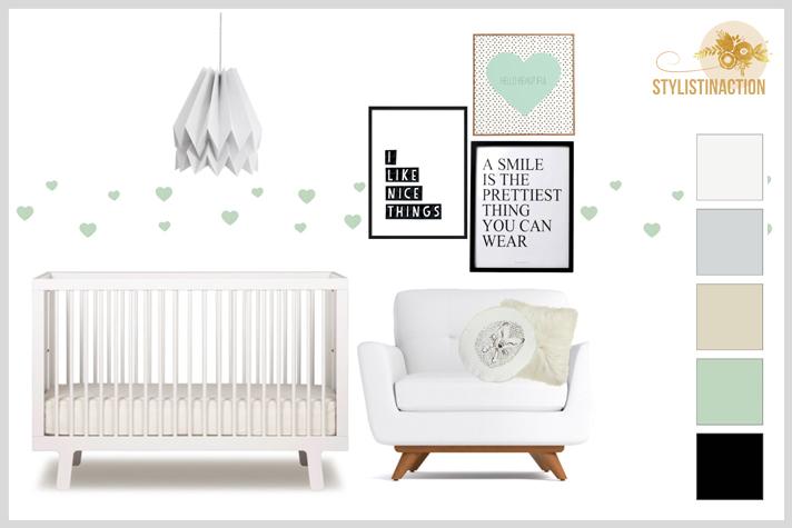 Ideas para cuartos de bebes no tradicionales. Full white con toques en mint