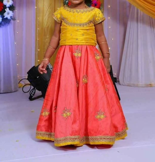 Peach Lehenga with Maggam Work