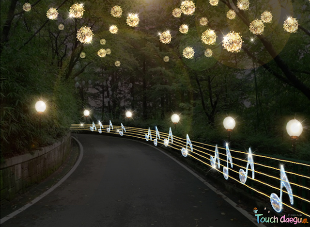 Beautiful road decorated with lights in E-World