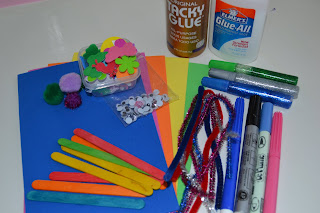materials needed to make butterfly craft for kids including Foam Sheets Glue Popsicle Sticks Pipe Cleaners Pom-Poms Pens Glitter Glue Foam Stickers Googly Eyes