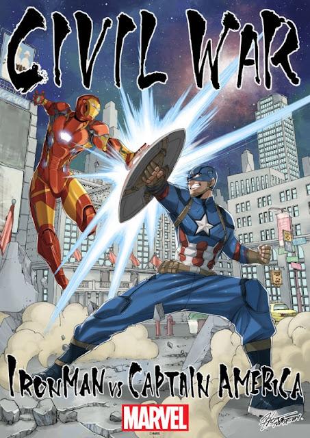 Ce n'est pas un secret que Hiro Mashima, le créateur de Rave et surtout de Fairy Tail's, est un fan de comics. Il a eut l'agréable surprise d'être contacté par Marvel pour dessiner un poster lors de la sortie au cinéma de Captain America: Civil War.   Mashima a donc réalisé deux illustrations pour l'occasion, la premiere representant Captain America contre Iron Man et la seconde parodiant une affiche du film mais avec les personnages de Fairy Tail's.         Pour la bande-annonce de Captain America: Civil War c'est ici!!!