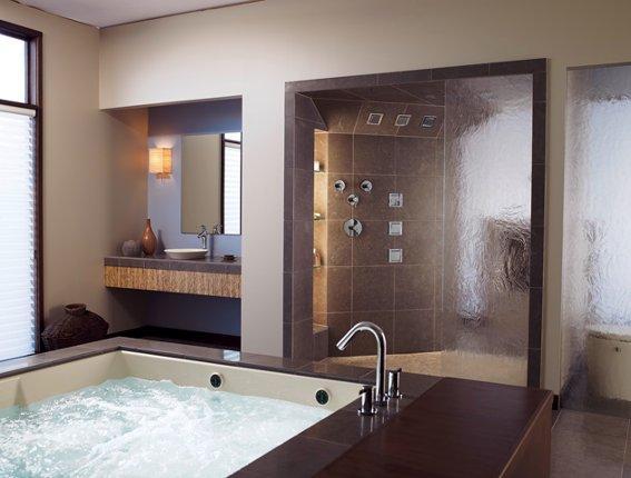 Baños Modernos: Baño moderno con tina hidromasaje