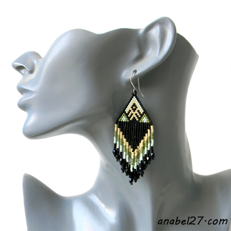 seed bead earrings beadwork jewelry beaded earring
