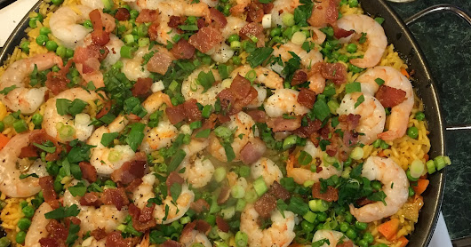 Shrimp and Bacon Paella with Peas and Carrots