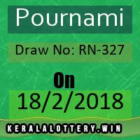 Kerala Result Lottery Pournami Draw No: RN-327 as on 18-02-2018