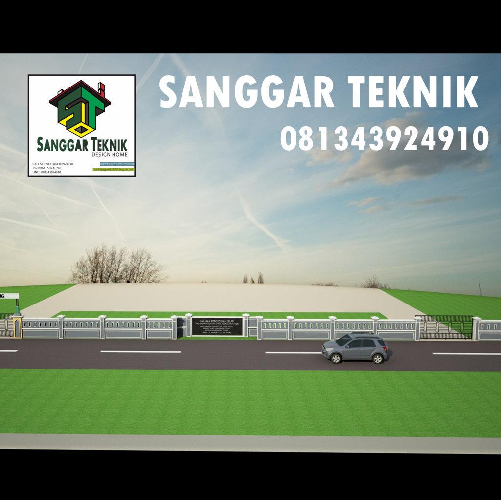 Gambar Desain Pagar Sekolah Semi Minimalis Auto Cad File Sanggar Teknik
