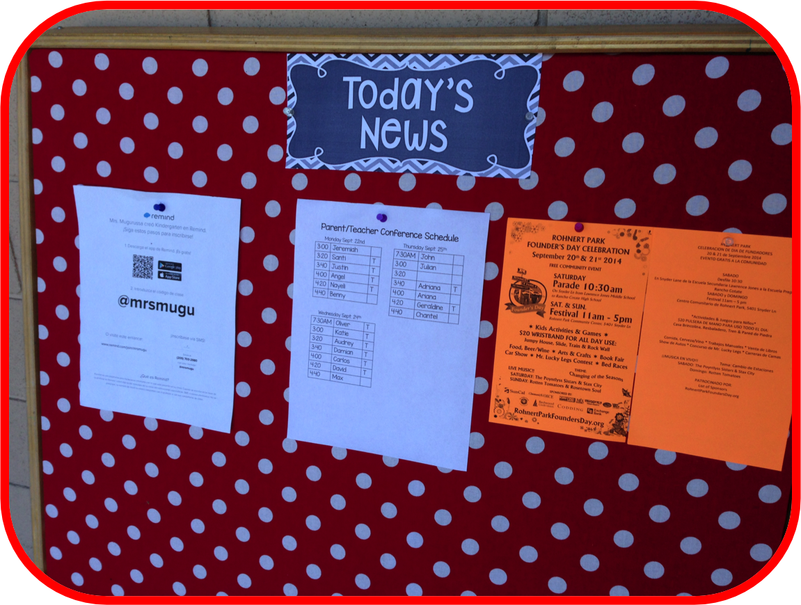parent information board, classroom news