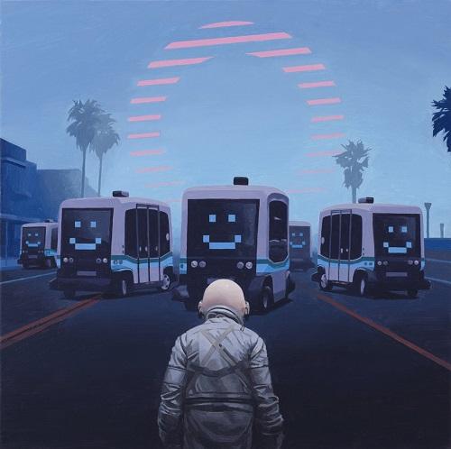 """Self Driving Buses"" - Scott Listfield | imagenes de arte bellas, pinturas tristes nostalgicas, cuadros, astronautas, sad art pictures, cool stuff"