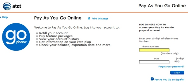 AT&T Paygonline Login - GoPhone Refill Account Sign Help