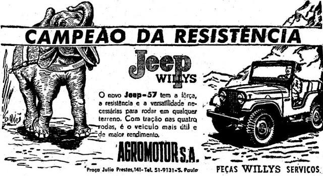 Campanha do Jeep Willys em 1957 apresentando a robustez do automóvel