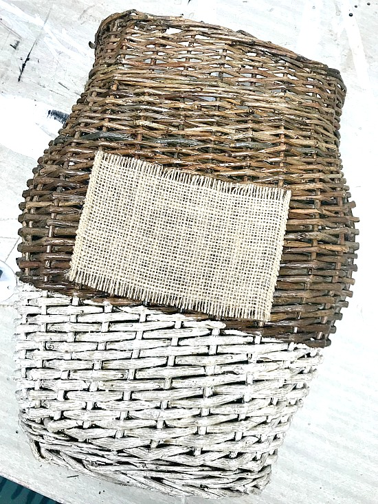 burlap tag attached to basket