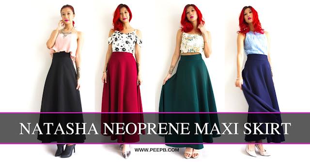 Divine Natasha Neoprene Maxi Skirt