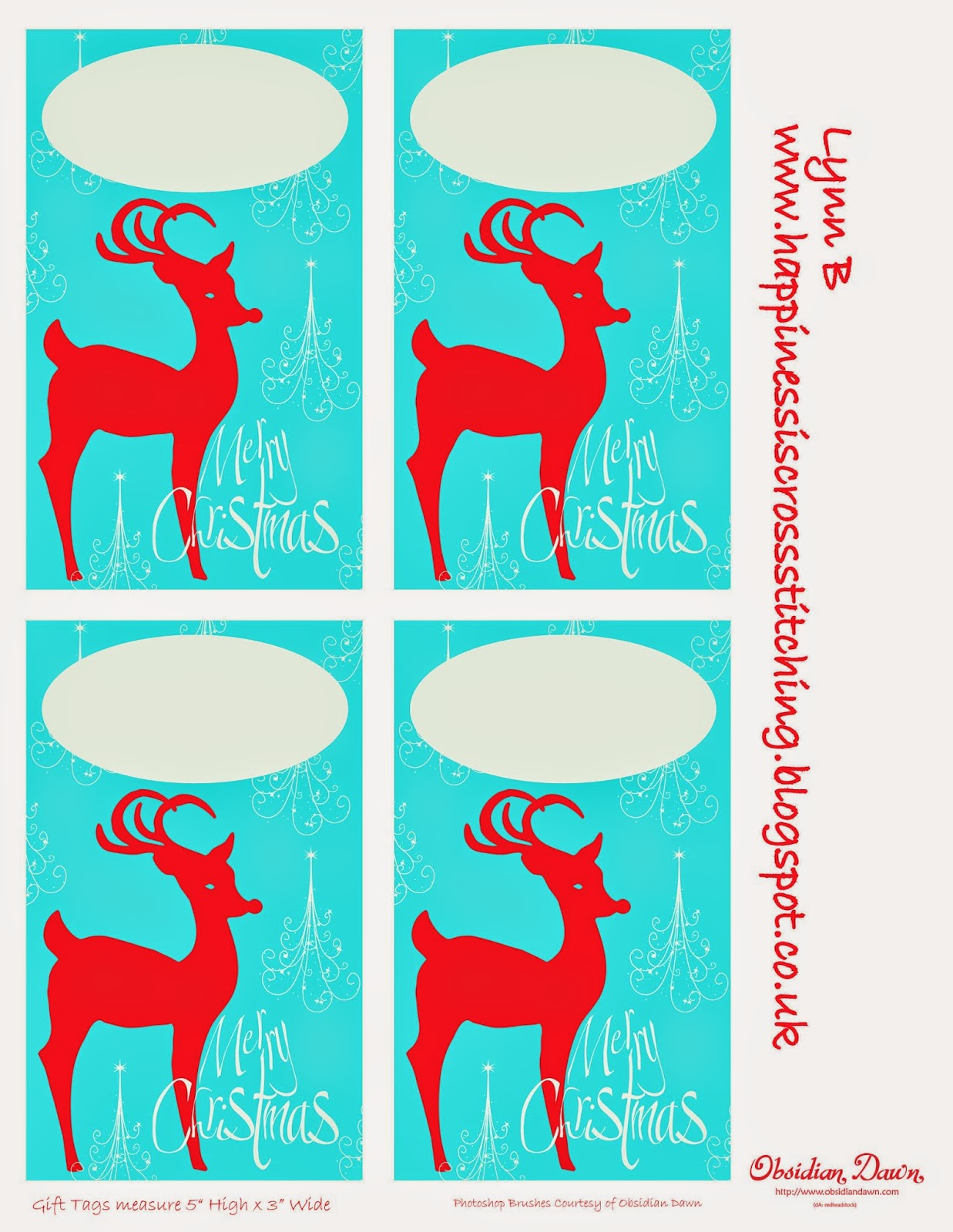 Christmas Reindeer Gift Tags By Lynn B