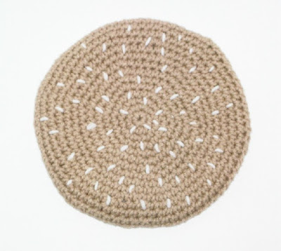 Crocheted Cheeseburger Potholder Set - Bun Top