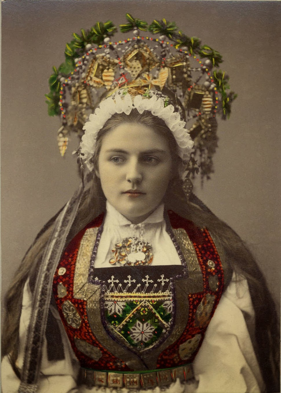 Norwegian bride, vintage photo