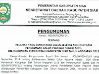 Hasil Seleksi Administrasi CPNS 2018 Kabupaten Siak