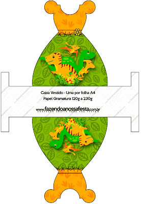 Dinosaurs Party Free Printable Dress Box.