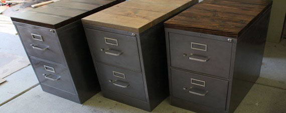 Metal And Wood Filing Cabinet