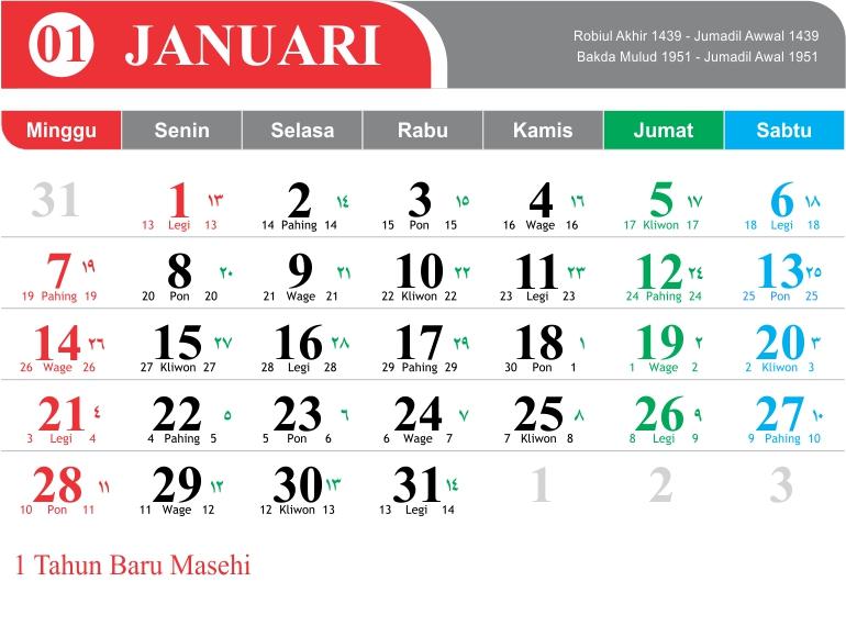 Kalender 2018 Vector Cdr Lengkap Jawa Hijriyah Welogo