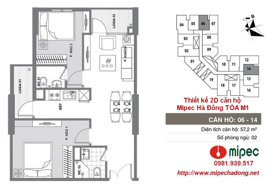 Hình ảnh Thiết kế căn hộ Mipec Hà Đông tòa M1 Căn 06 và 14