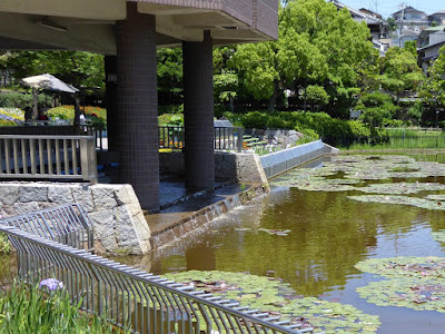 枚方市・市民の森(鏡伝池緑地)の管理事務所の滝