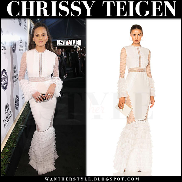 Chrissy Teigen in white lace tiered gown jonatham simkhai what she wore red carpet