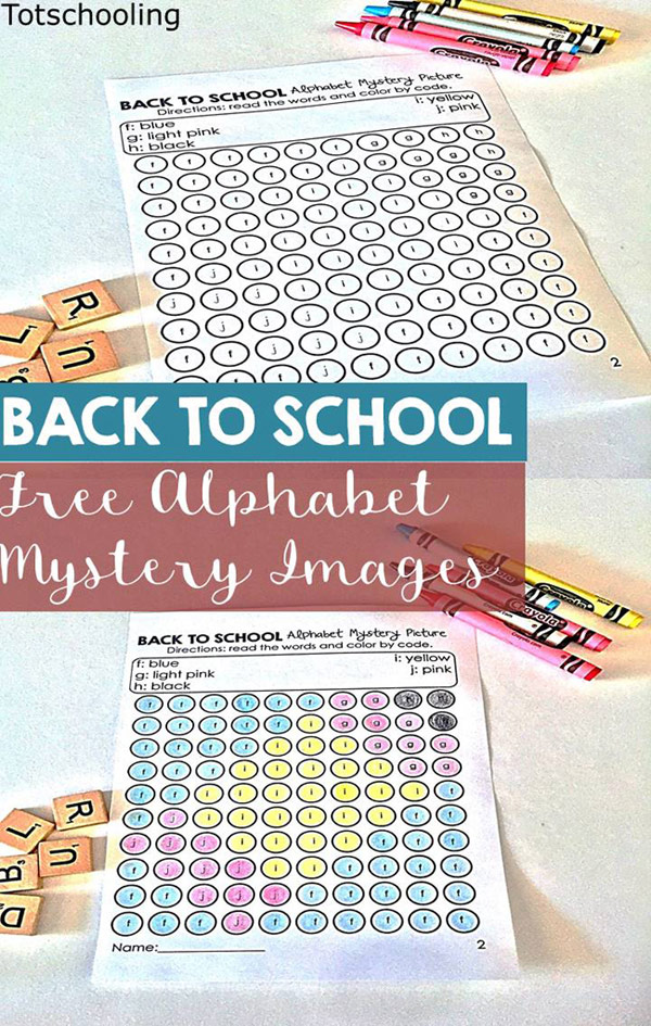 FREE printable Color by Letter mystery pictures with a Back to School theme. Fun coloring pages for preschool and kindergarten to practice letter recognition.