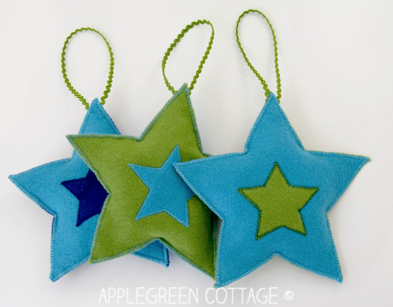DIY Christmas Decorations - Felt Stars Free Pattern - AppleGreen - christmas star decorations