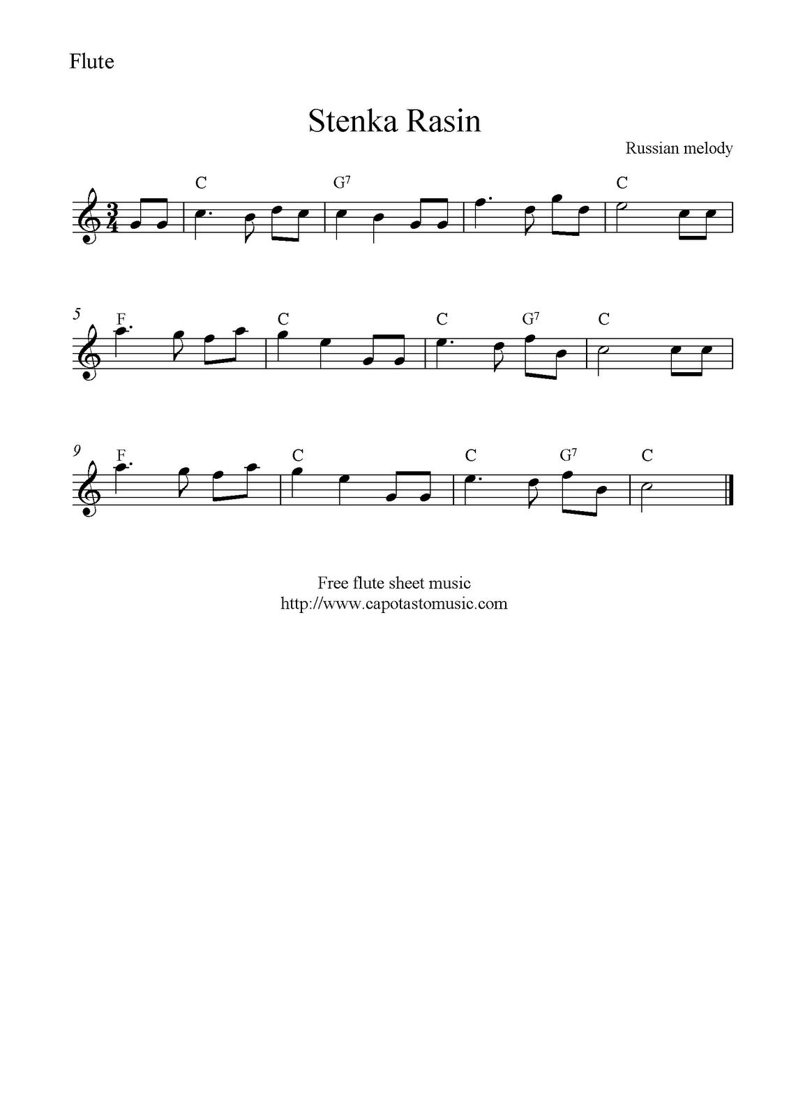 Sheet Music For Beginners Flute Free