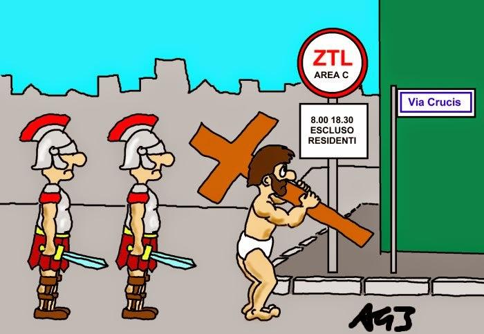 pasqua, ztl, via crucis, umorismo, vignetta