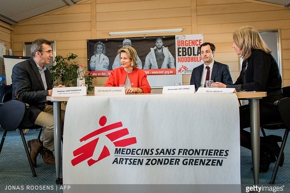 Stephan Goetghebuer, Queen Mathilde of Belgium, Vice-Prime Minister and Minister of Cooperation Development, Digital Agenda, Telecom and Postal services Alexander De Croo and Meinie Nicolai