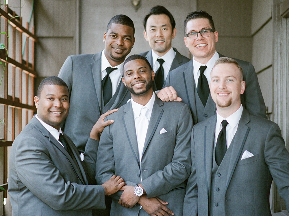 Groomsmen in the Hillside Church hall way, El Cerrito CA California