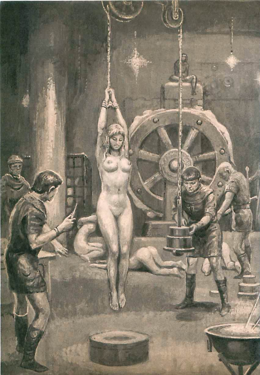 Medieval interrogation, rope and hot irons torture