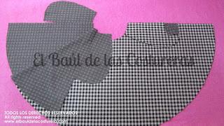 confección de vestido con tela cuadrille