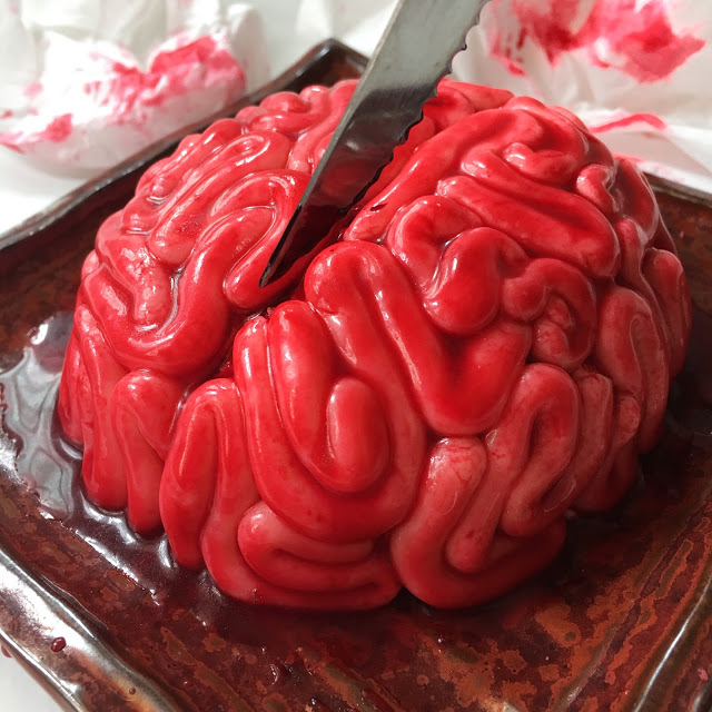 Halloween Brain Cake made out of fondant and edible red gel