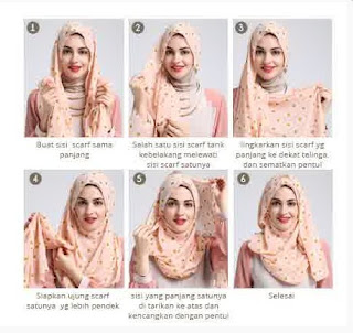 Tutorial hijab scarf segi empat untuk lebaran
