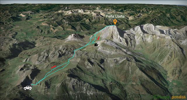 Mapa de ruta a Peña Ubiña desde la zona del Picón.