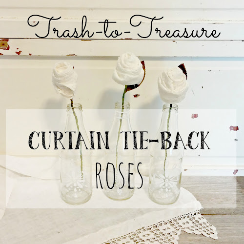 Trash-to-Treasure Lace Curtain Tie-Back Roses