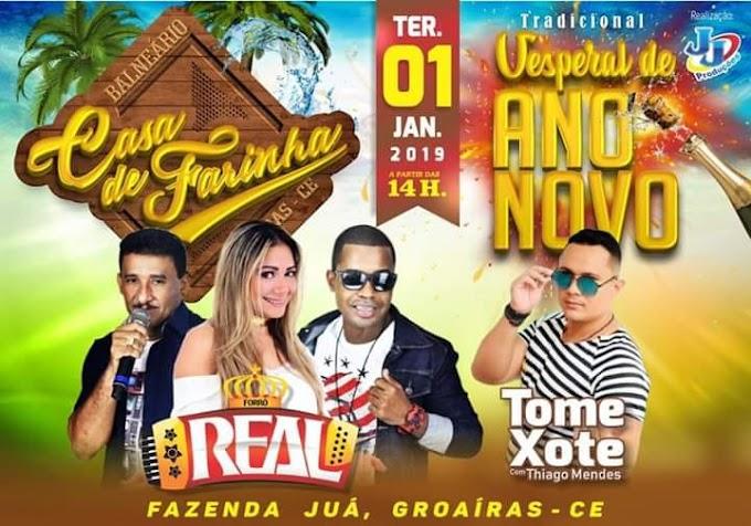 """Dia 1º de janeiro/2019, às 14h, haverá o tradicional """"Vesperal de Ano Novo"""" no Balneário Casa de Farinha, em Juá-Groaíras"""