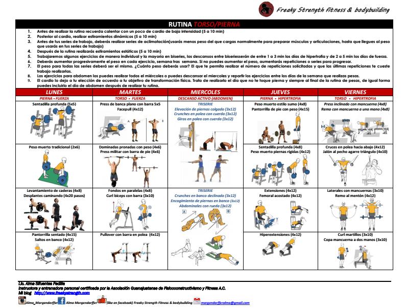 rutina torso pierna hipertrofia fuerza