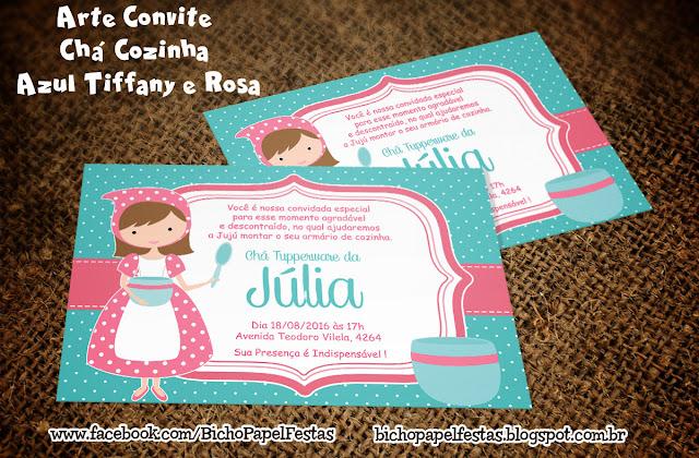 Arte Convite Chá Cozinha Azul Tiffany e Rosa