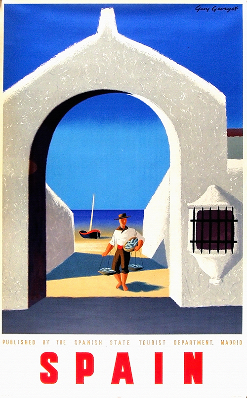 Spain, Fisherman - Vintage Travel Poster, classic posters, free download, free posters, free printable, graphic design, printables, retro prints, travel, travel posters, vintage, vintage posters, vintage printables, vintage travel posters
