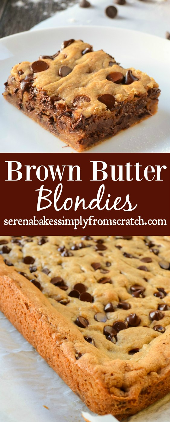 Blondies are a like a blonde brownie meets chocolate chip cookie with a crispy edge, and soft chewy center from Serena Bakes Simply From Scratch.