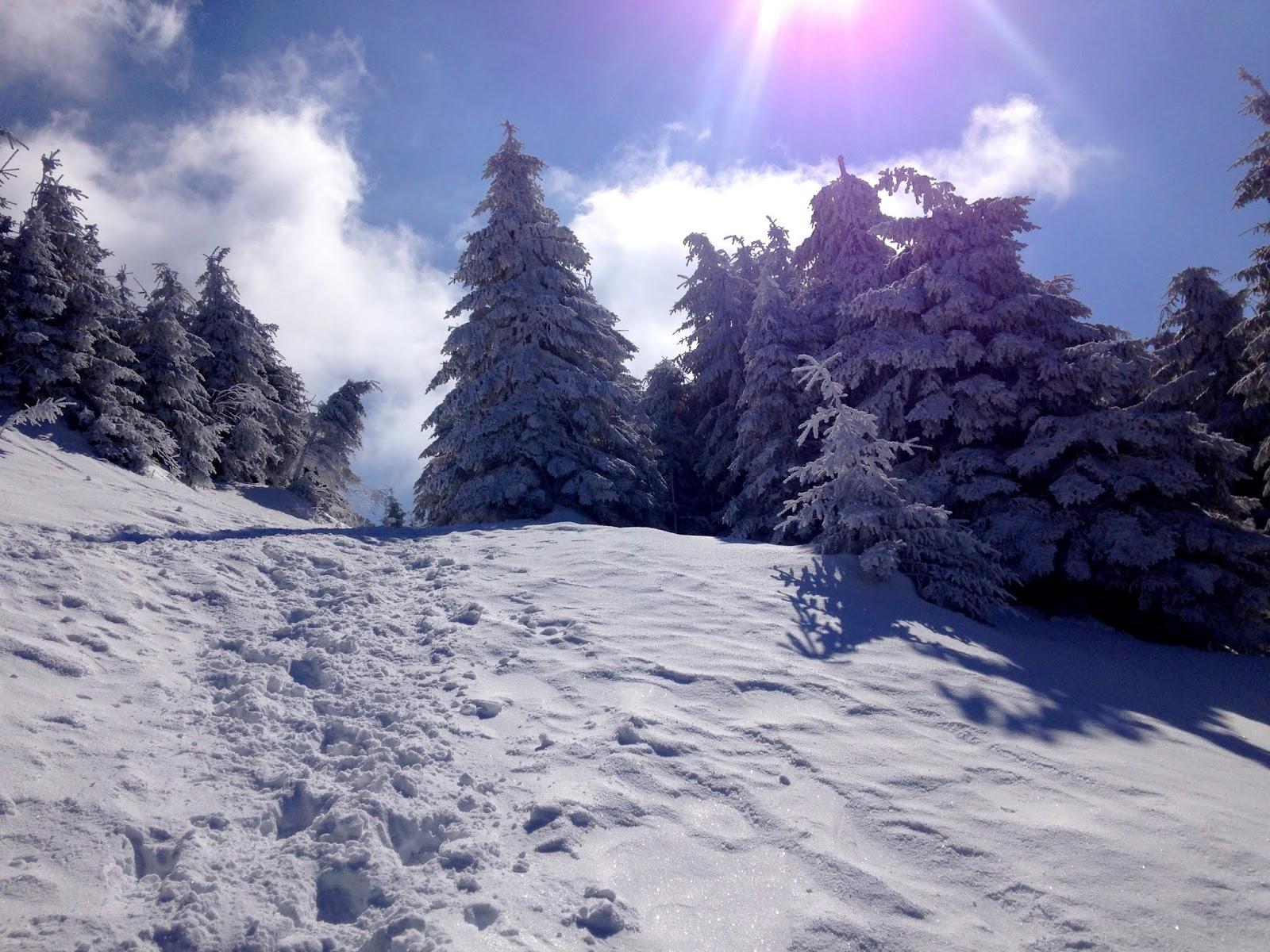 Wielki Chocz podejście zimowe w śniegu