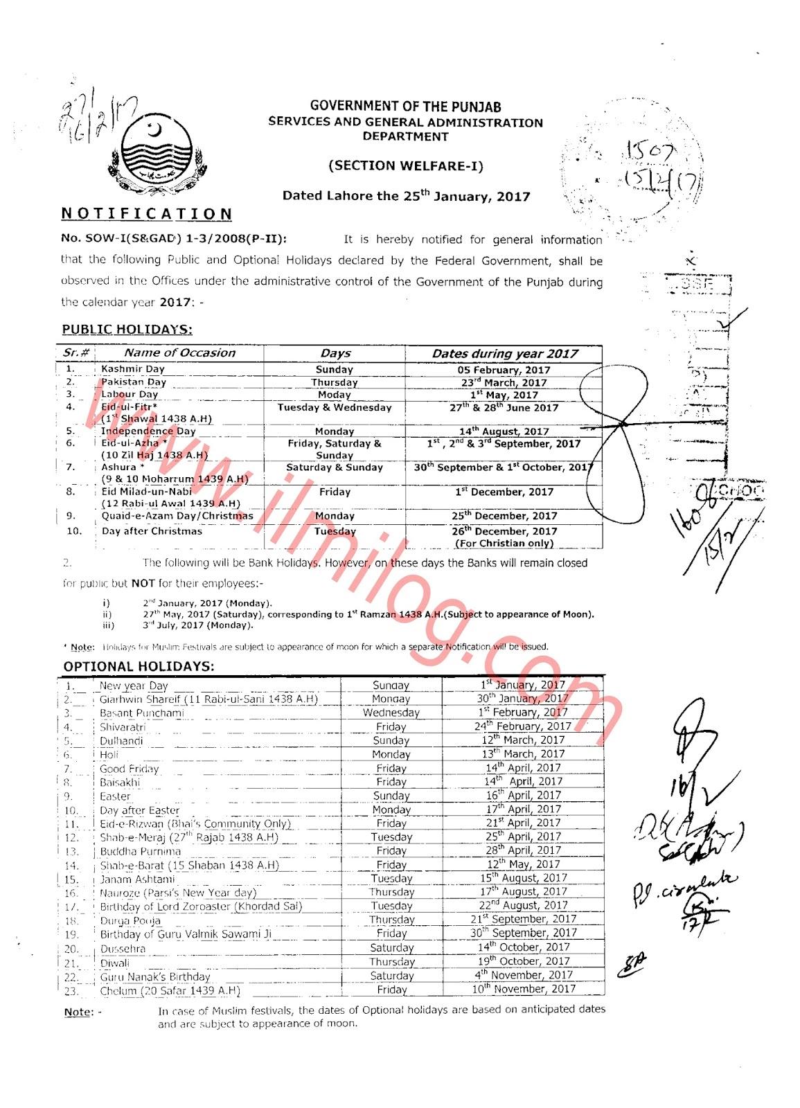 Punjab Government Eid Holidays Notification 2017