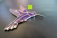 seitlich: Kunstvolles Silber Halskette mit Kolibri Anhänger